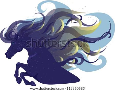 magic blue horse