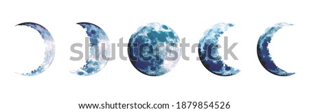 Magic blue moon phases vector design set. Round shaped celestial collection. Dusty blue and navy colors. Fairytale magic watercolor style objects. Science set. All elements are isolated and editable Сток-фото ©