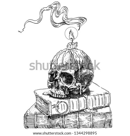 Magic books, skull and candle. Hand drawn engraving medieval style ink and nib pen vector illustration. Fantasy, occultism, alchemy, witchcraft, ritual, heavy metal music, gothic, horror concept.