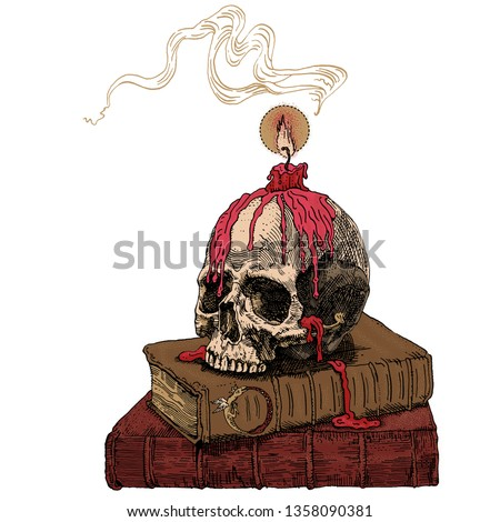 Magic books, skull and wax candle, flame and smoke. Hand drawn engraving medieval style illustration. Fantasy, occultism, alchemy, witchcraft, ritual, heavy metal music, gothic, horror concept.