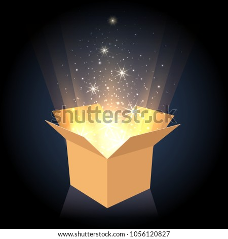 Magic box. Cardboard box with glow lighting inside, opened gift container vector illustration