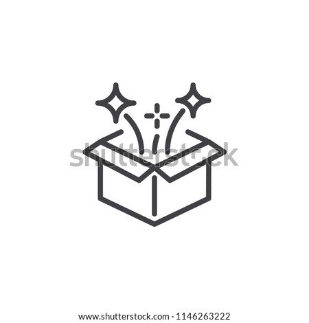 Magic box outline icon. linear style sign for mobile concept and web design. Open gift box and magic stars simple line vector icon. Symbol, logo illustration. Pixel perfect vector graphics