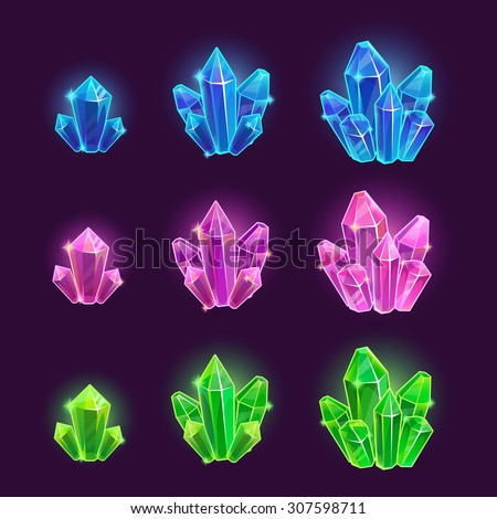 magic cartoon shiny crystals