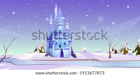 magic castle at winter day on