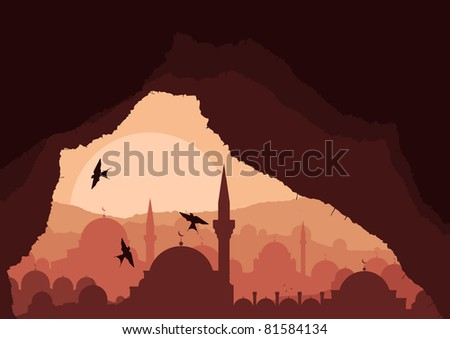 Magic cave view on islamic city landscape