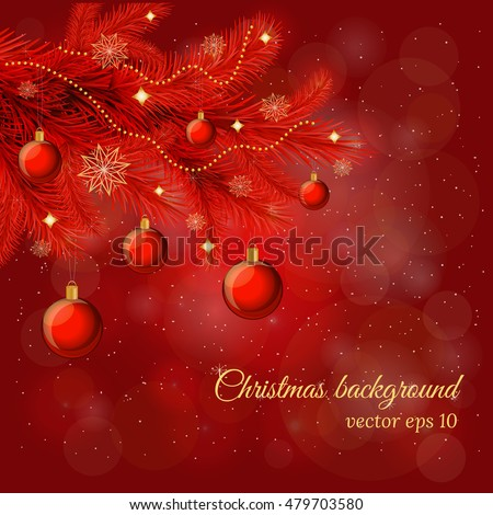 magic christmas and new year background with pine tree twig glossy balls garland in