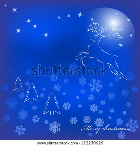 Magic Christmas background with a star deer. Vector. eps 10