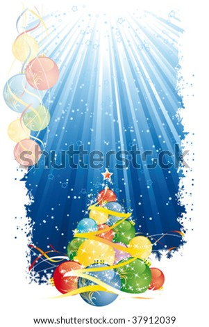 Christmas background with abstract tree and balls