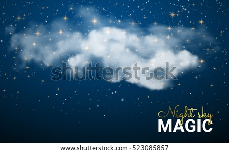 Magic Christmas Cloud. Shining Stars. Night sky abstract background. Vector illustration Christmas. Fairy Dust.