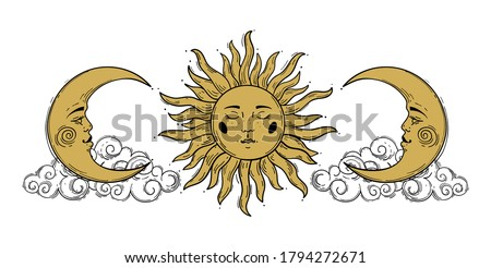 Magic concept, vintage sun and crescent pattern with face, gold and black, engraving stylized. Illustration for astrology, boho design, pagan symbols for divination. Stock vector