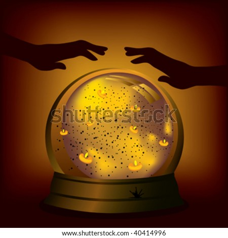magic crystal ball and hand