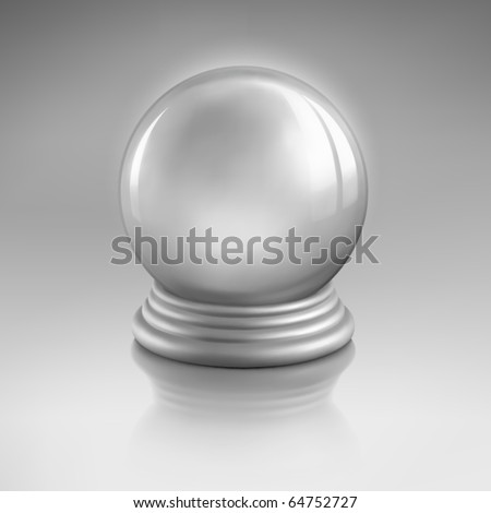 Magic crystal ball of glass and silver. Empty snow globe. Vector