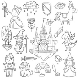 Magic cute baby vector set with fairy castle, dragon, colorful rainbow, princess and other fairy elements and characters for your design
