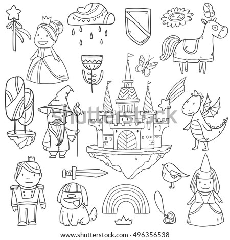 Stock Photo Magic cute baby vector set with fairy castle, dragon, colorful rainbow, princess and other fairy elements and characters for your design