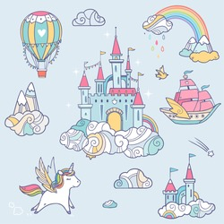 Magic cute baby vector set with fairy cloud castle, pegasus, colorful rainbow, air balloon and other elements