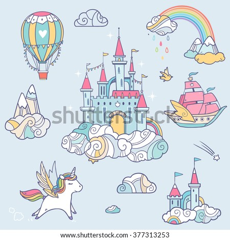 magic cute baby vector set with