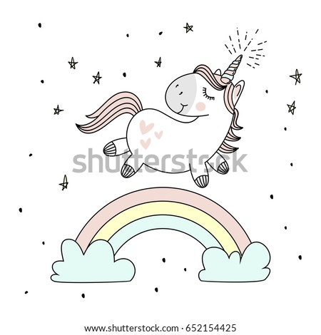 magic cute unicorn  walking on