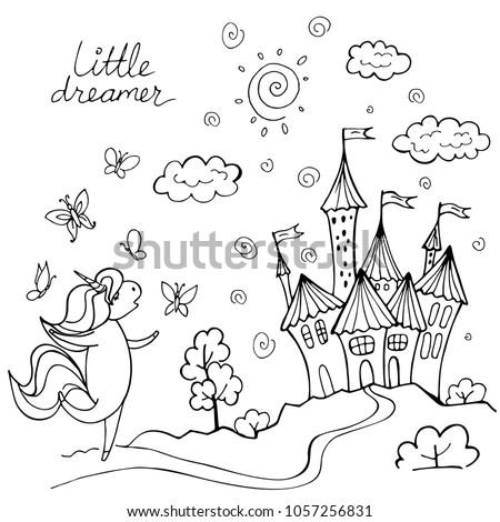 magic cute unicorn with
