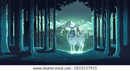 Magic deer in night forest, mystical stag with glowing eyes and body, soul of nature, wood protector, totemic animal at trees and mountain landscape, majestic reindeer, Cartoon vector illustration