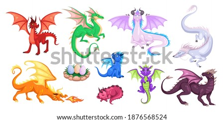 Magic dragons. Fantasy funny creatures, big flying fairy animals, fire-breathing legendary characters, adults and babies mythical reptiles. Childish bright collection for design cartoon vector set Zdjęcia stock ©