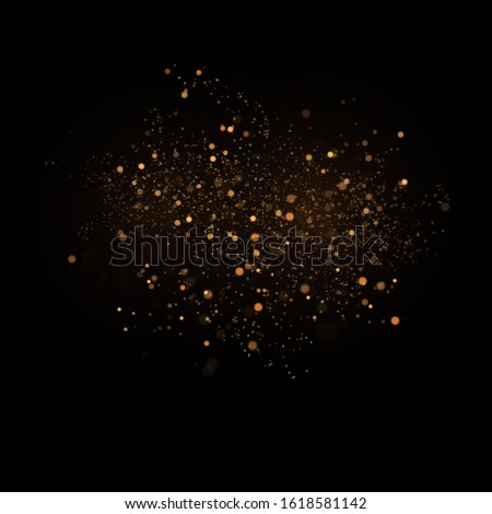 Magic dust particles. Dust particles fly in space. Gold sparks and golden stars glitter special light effect. Vector sparkles on transparent background. Christmas abstract.