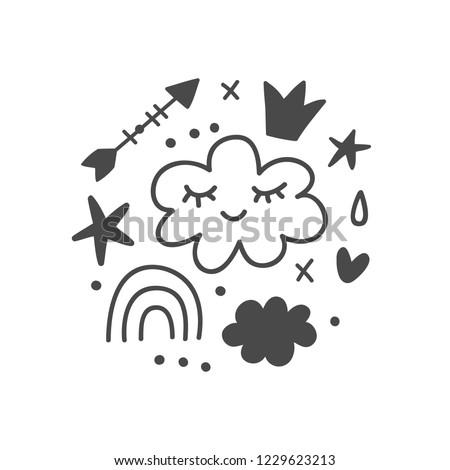 Magic Fairy tale kids print for nursery art, apparel textile, tee shirt, mug, invitation and greeting cards. Vector illustration, scandinavian style