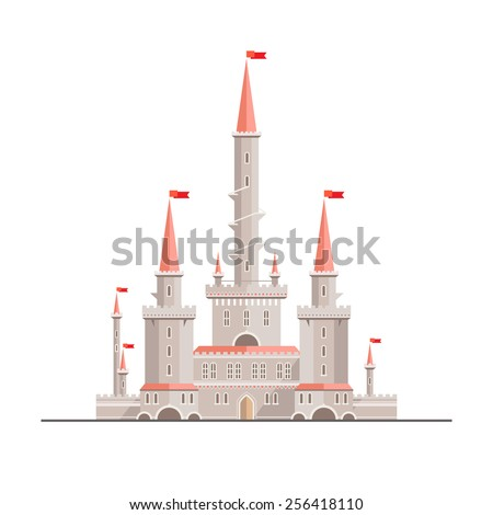 Magic fantasy castle - flat style illustration. Can be used in books, game background, web design, etc. stock photo