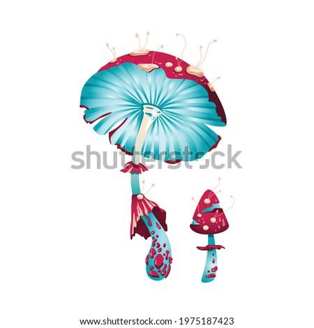 Magic fantasy mushroom, unusual glowing fly agaric. Fantastic psychedelic design of funguses, plants fabolous nature. Flat cartoon vector illustration on white.