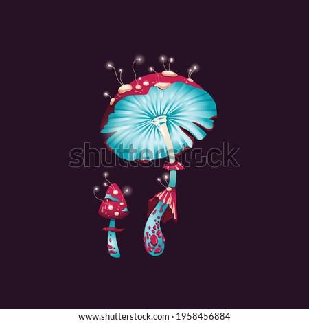 Magic fantasy mushrooms, unusual glowing fly agaric. Fantastic psychedelic design of funguses, plants fairytail nature. Flat cartoon vector illustration on black.