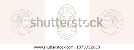 Magic female creatures and woman with moon crescent in boho linear style vector illustrations set. Bohemian emblems in golden lines with feminine symbols for mystic design and cosmetic logo