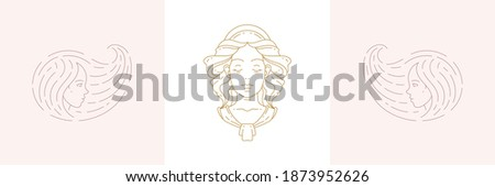 Magic female heads and woman with beauty hairstyle in boho linear style vector illustrations set. Bohemian emblems in golden lines with feminine symbols for mystic design and cosmetic logo