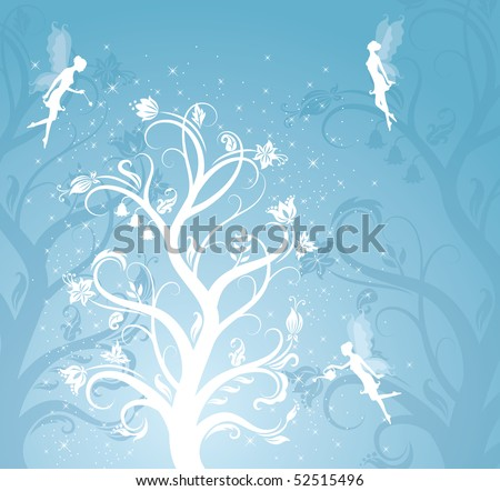Magic flower pattern with fairies on the blue background.