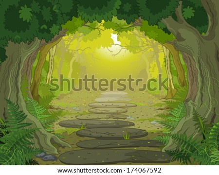 magic forest landscape with