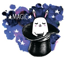 Magic. Funny print on a T-shirt, a postcard. Rabbit in the hat. Drawing by hand, a child's drawing.