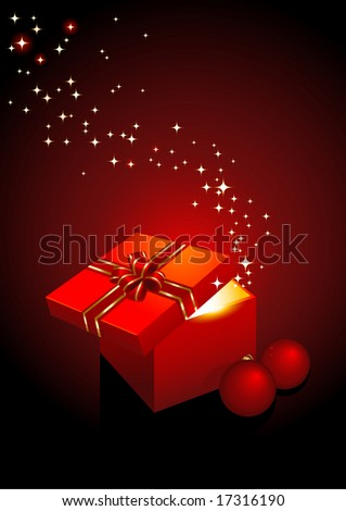 magic gift-box - vector holiday background