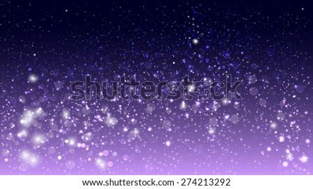 Magic glow and bokeh on purple background