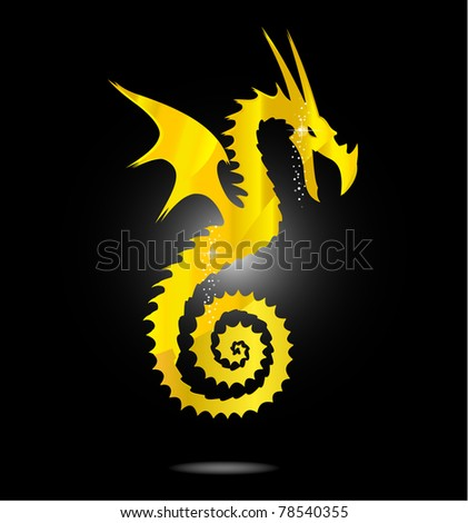 magic gold asia dragon isolated