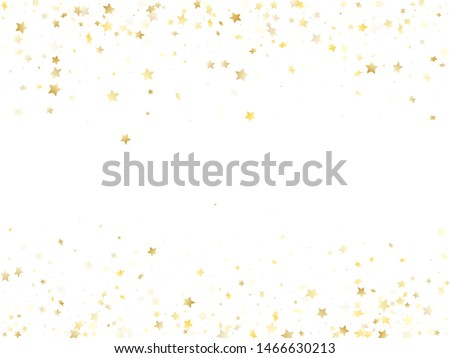 Magic gold sparkle texture vector star background. Beautiful gold falling magic stars on white background sparkle pattern graphic design. Holiday confetti tinsels decoration.