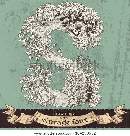 Magic grunge forest hand drawn by a vintage font - S