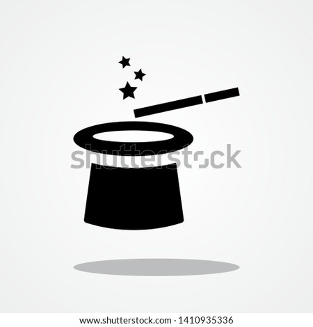 Magic Hat and Magic Wand Icon with Gray Shadow