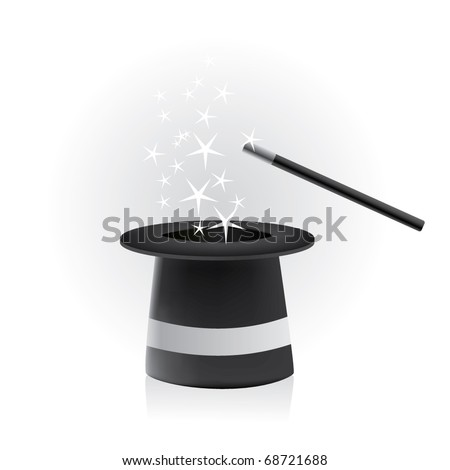 Magic hat and wand - vector - stock vector