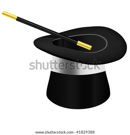 Magic hat and wand - vector file