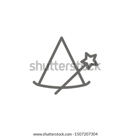 Magic hat, magic wand icon. Element of theater icon. Thin line icon