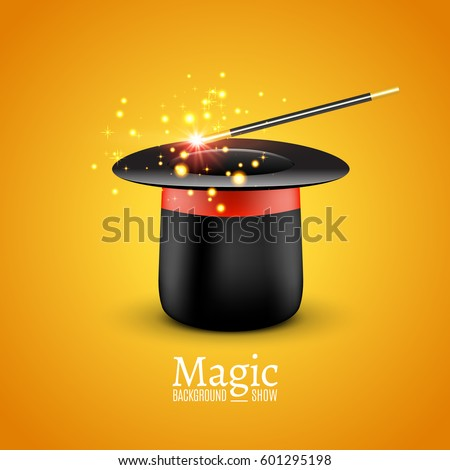 Magic Hat with Magic wand. Vector Magician perfomance. Wizzard illusionist show background.