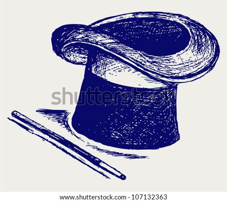 Magic hat with magic wand. Vector sketch