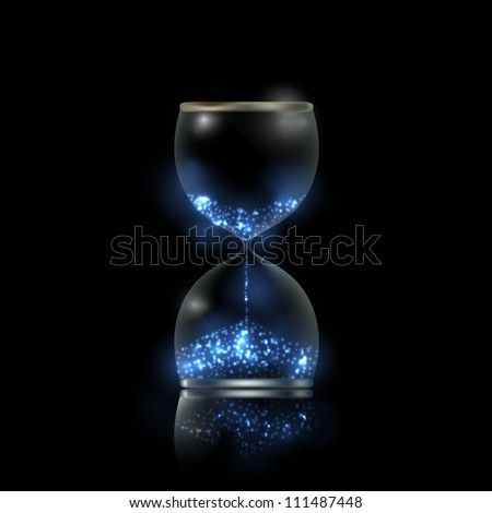Magic hourglass with blue shiny flares inside, EPS10 vector