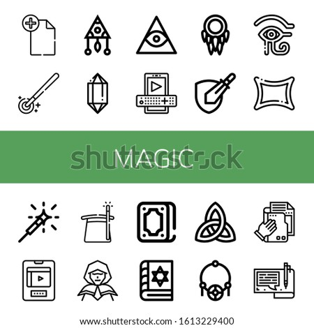 magic icon set. Collection of File, Magic wand, Dreamcatcher, Crystal, Freemasonry, Entertainment, Rpg game, Eye of ra, Rune, Sparkler, Magician, Wizard, Fortunetelling icons