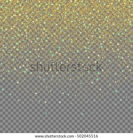Magic light effect. Gold glittering star dust on transparent background. Falling stars. Vector design