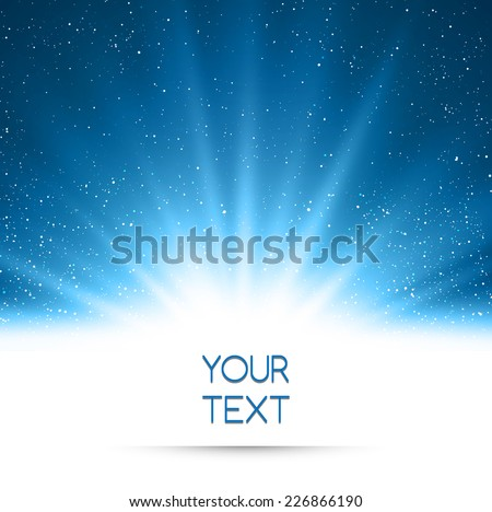 Magic light holiday background. Blue burst with snow