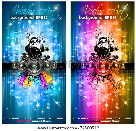 MAgic Lights Disco Flyer with DJ shape and a lot of stars